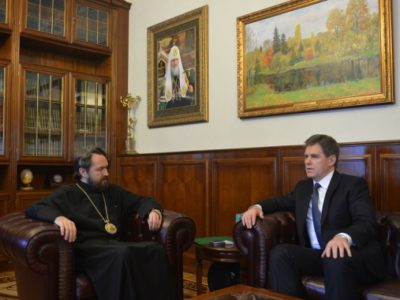 Митрополит Иларион встретился с послом Беларуси в России