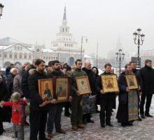 19 февраля на железнодорожных вокзалах Москвы прошли молебны о мире.