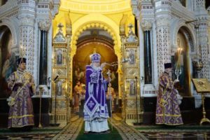 В 42-ю годовщину архиерейской хиротонии Святейшего Патриарха Кирилла в Храме Христа Спасителя совершена Литургия Преждеосвященных Даров