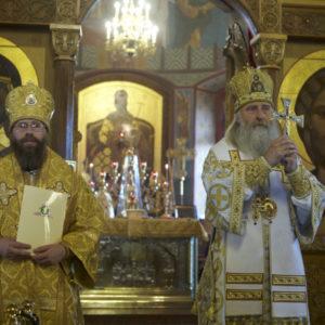 Архиепископ Феогност передал епископу Леониду Патриарший указ о назначении Его Преосвященства наместником Оптиной пустыни