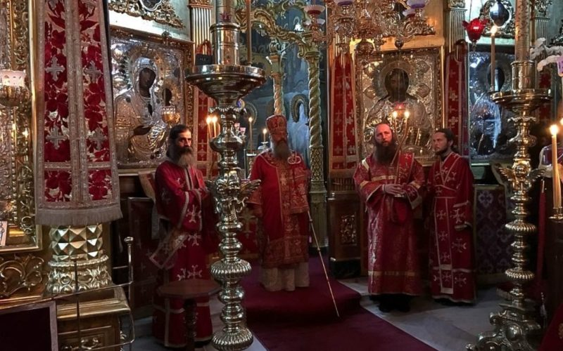 Митрополит Кирилл возглавил престольный праздник в Русском на Афоне Свято-Пантелеимоновом монастыре