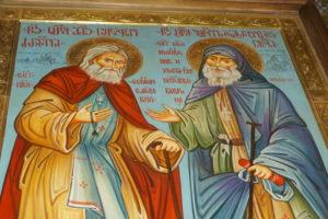 ЧУДОТВОРНАЯ ИКОНА С ИЗОБРАЖЕНИЕМ ПРЕПОДОБНЫХ СЕРАФИМА САРОВСКОГО И ГАВРИИЛА (УРГЕБАДЗЕ) ПРИБЫЛА В ХРАМ СВЯТОЙ ИРИНЫ