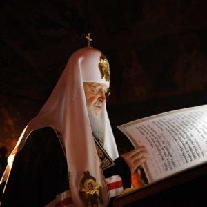 В среду первой седмицы Великого поста Святейший Патриарх Кирилл совершил повечерие с чтением Великого канона прп. Андрея Критского в Новоспасском монастыре