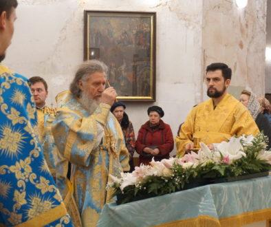 В канун праздника Благовещения Пресвятой Богородицы архиепископ Димитрий возглавил всенощное бдение в храме св.Ирины